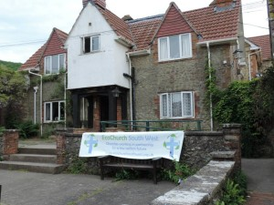 Hilfield Friary models the new Ecochurch Southwest banner.