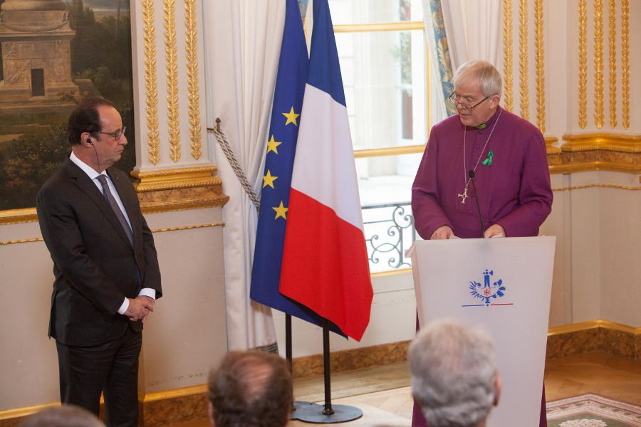 Bishop Nicholas addresses President Hollande at the presidential palace - credit Sean Hawkey